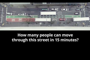 From a spot for PBOT comparing the efficiency of cars vs transit in moving people (Gyroscope Pictures)